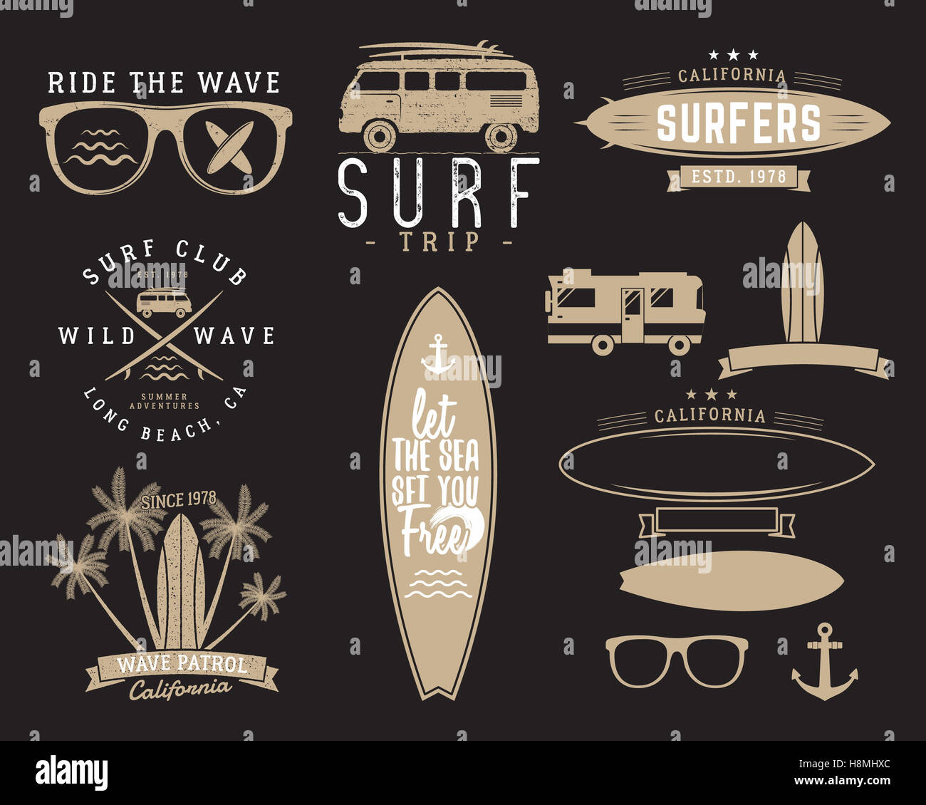 Set Of Vintage Surfing Graphics And Emblems For Web Design Or Print Surfer Beach Style Logo Surf Badge Surfboard Seal Elements Symbols