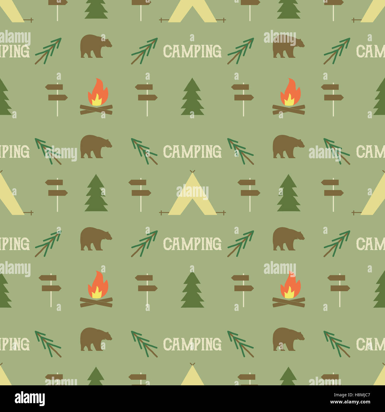 Camping Elements Pattern Seamless Wallpaper Design Equipment For