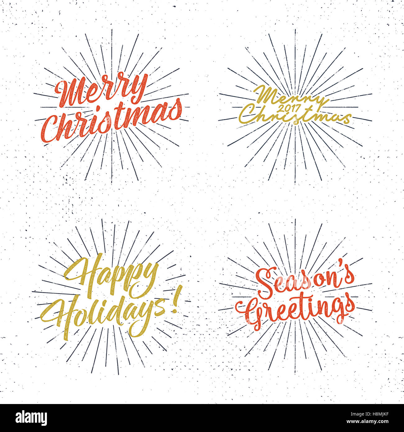 Set Of Christmas Lettering Wishes And Vintage Labels Seasons