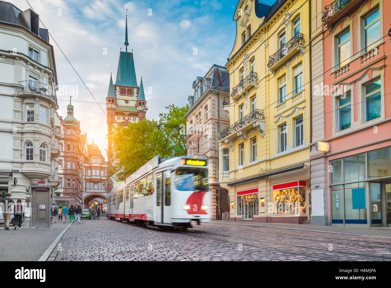 historic town of freiburg im breisgau with traditional tram and stock photo 125843602 alamy. Black Bedroom Furniture Sets. Home Design Ideas