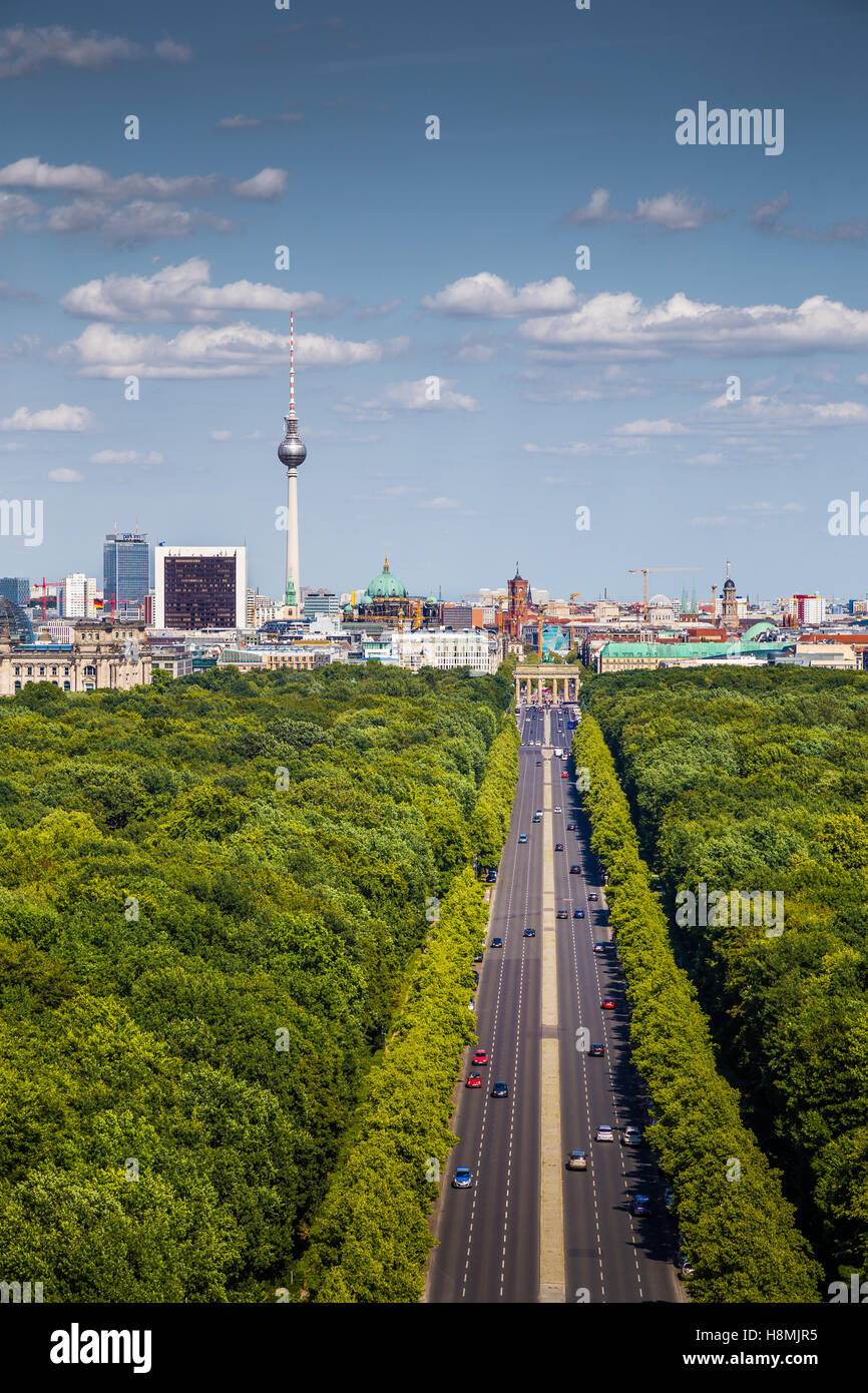 Aerial view of Berlin skyline panorama with Grosser Tiergarten public park on a sunny day with blue sky and clouds, - Stock Image