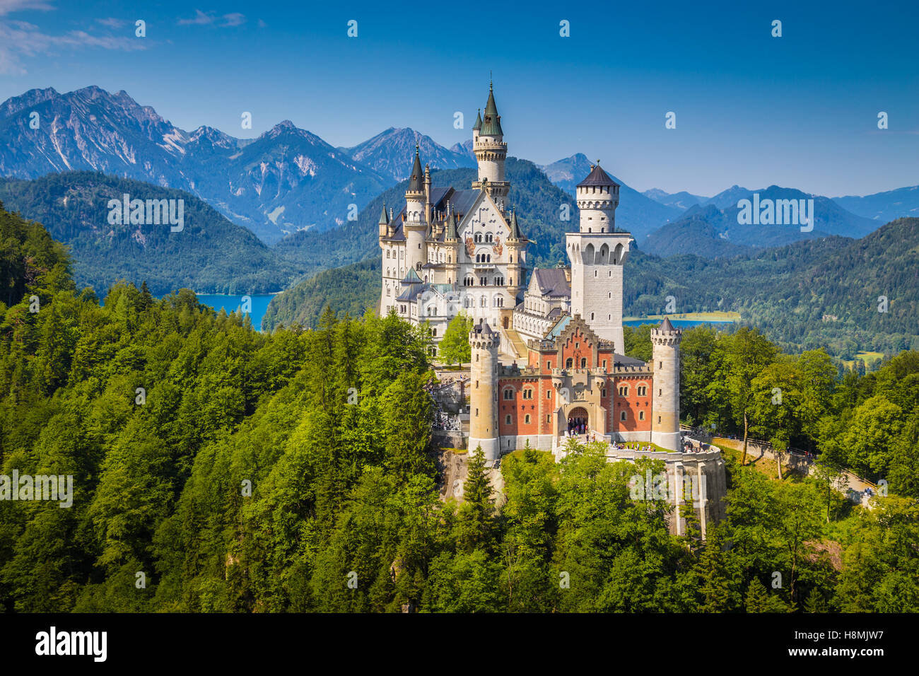 Classic view of world-famous Neuschwanstein Castle, one of Europe's most visited castles, in summer, Bavaria, - Stock Image