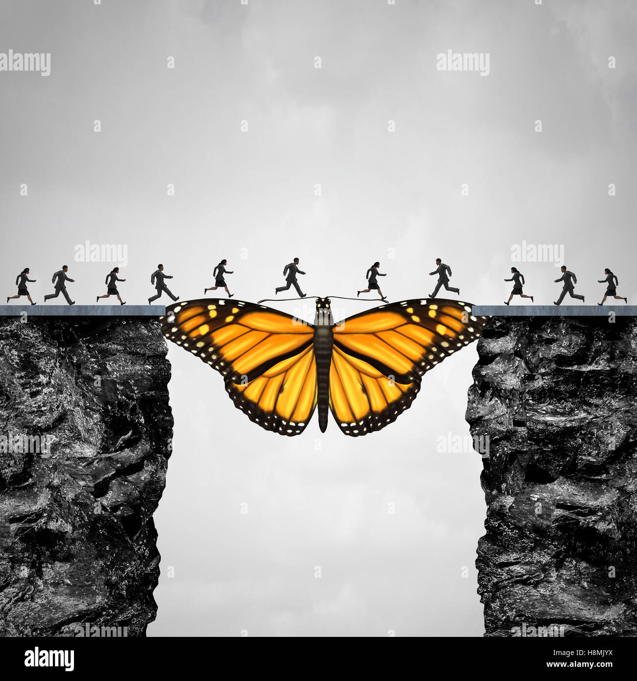 Opportunity and transition concept or migration as a butterfly acting as a bridge between two cliffs for people - Stock Image