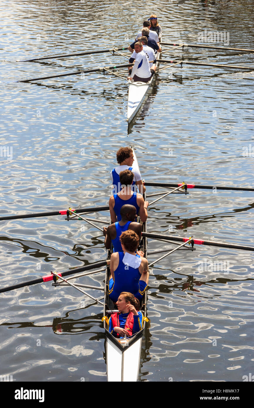 Rowing event at Lea Rowing Club, River Lea, Upper Clapton, London, April 2012 - Stock Image