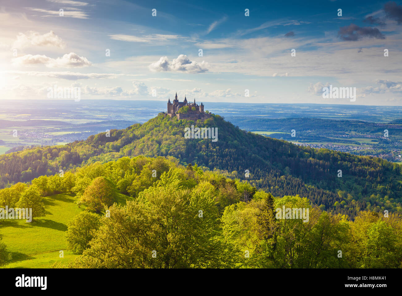Aerial view of famous Hohenzollern Castle, ancestral seat of the imperial House of Hohenzollern and one of Europe's - Stock Image