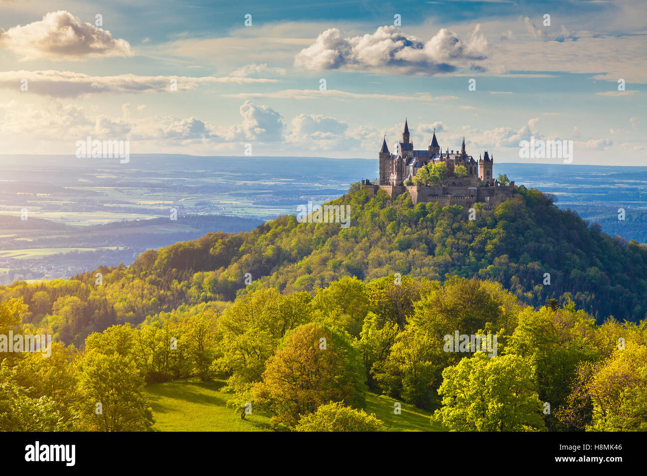 Classic view of famous Hohenzollern Castle, one of Europe's most visited castles, at sunset, Baden-Wurttemberg, - Stock Image