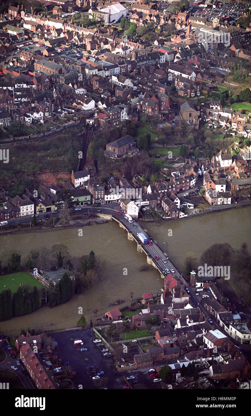 Aerial view of Bridgnorth Uk 1998 1990s - Stock Image