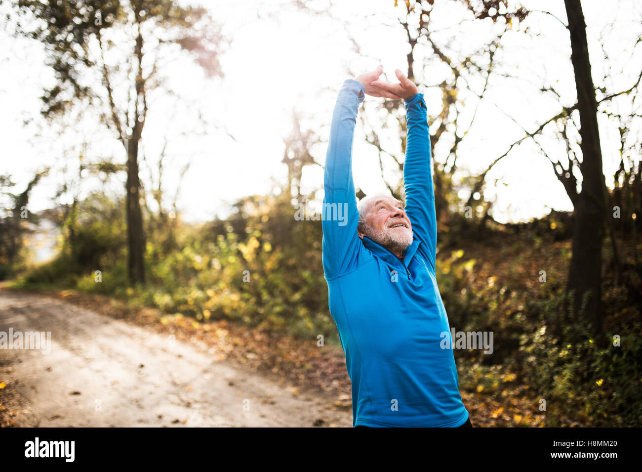Senior runner doing stretching in sunny autumn nature. - Stock Image