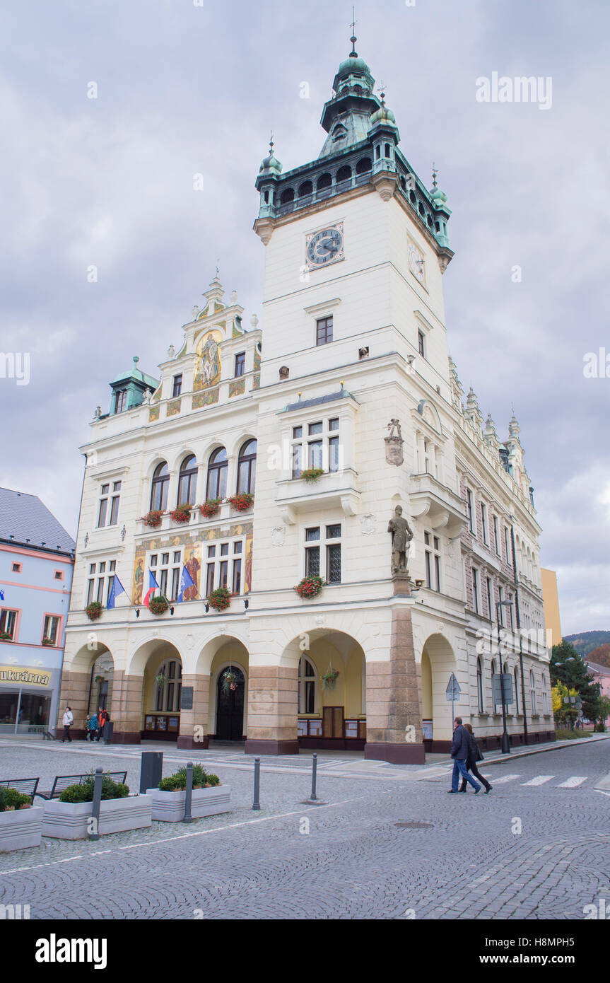 neo-renaissance town hall, Masaryk Square, Nachod - Stock Image