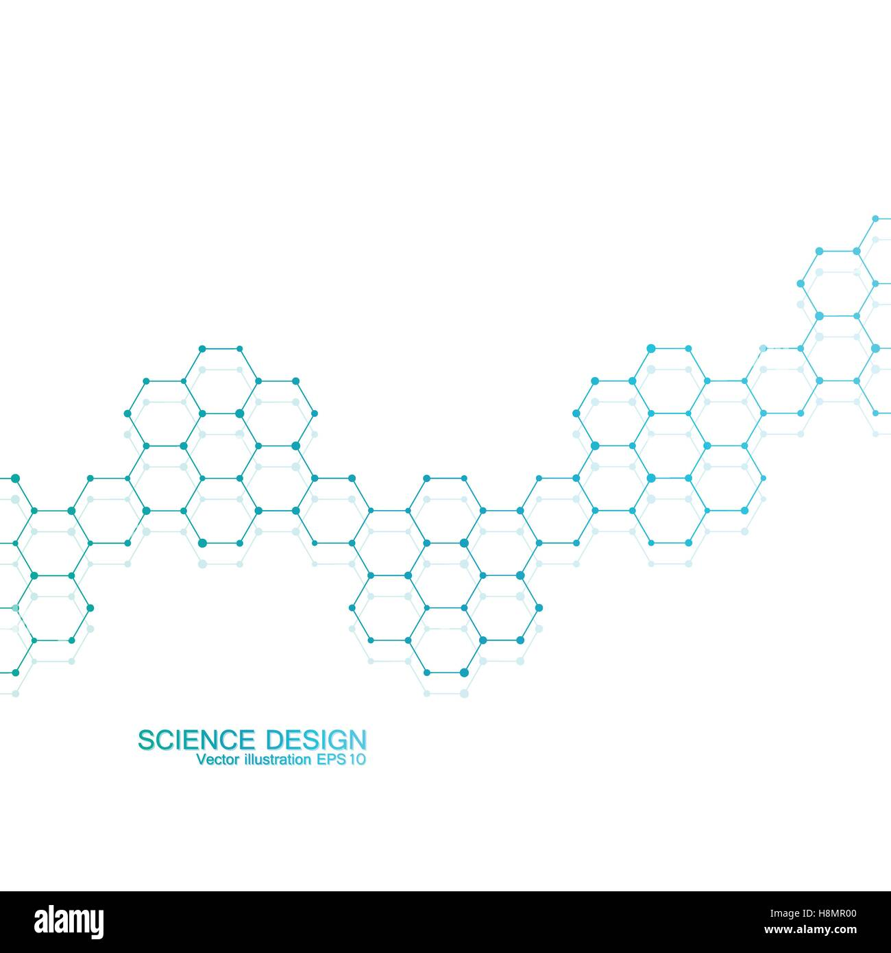 Structure molecule of DNA and neurons. Structural atom. Chemical compounds. Medicine, science, technology concept. - Stock Image