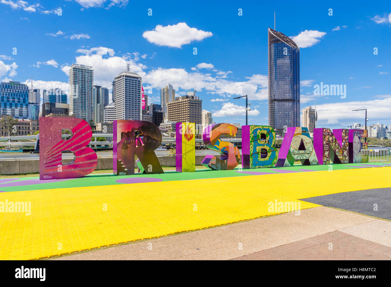 Brisbane sign and skyscrapers - Stock Image
