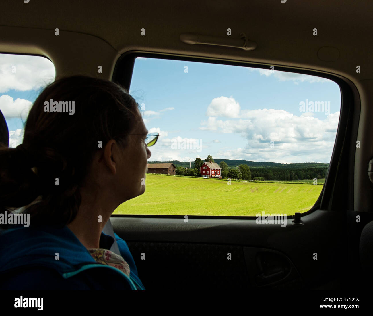 Mature woman in car observing country landscape - Stock Image