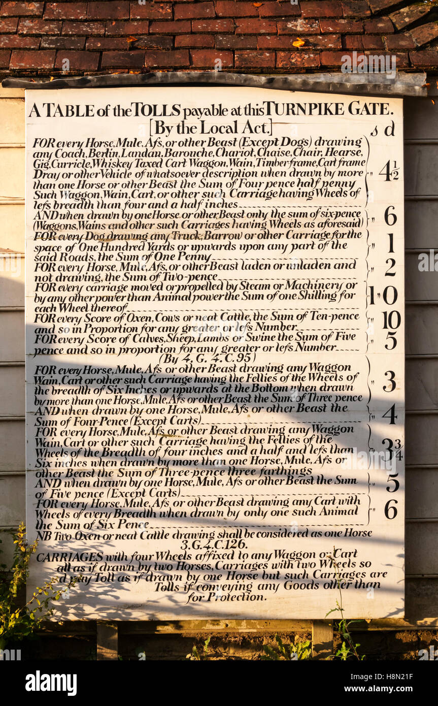 This toll board at the Weald and Downland Museum originally came from the toll house at Northchapel nr Petworth - Stock Image