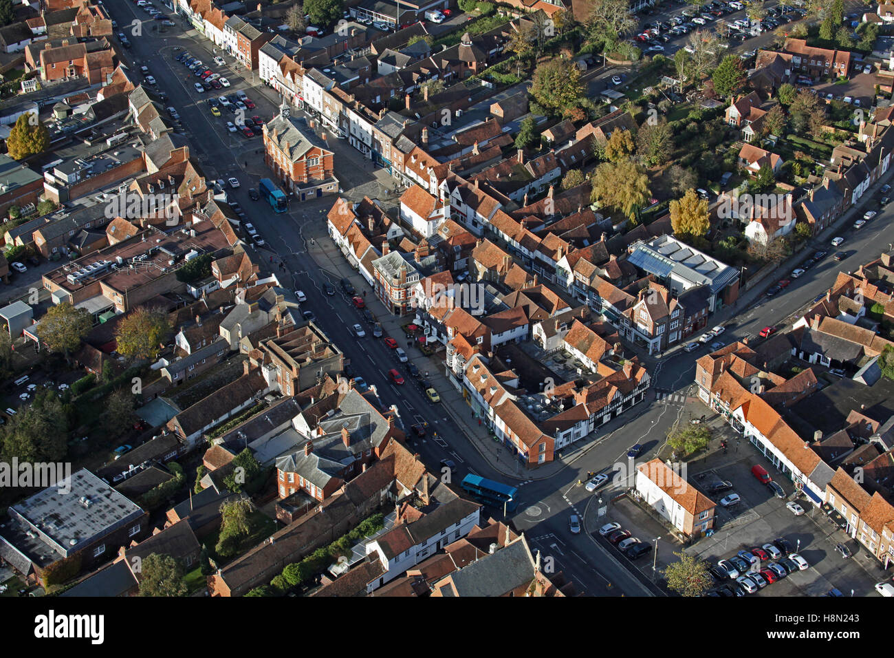aerial view of Thame town centre, Oxfordshire, UK - Stock Image