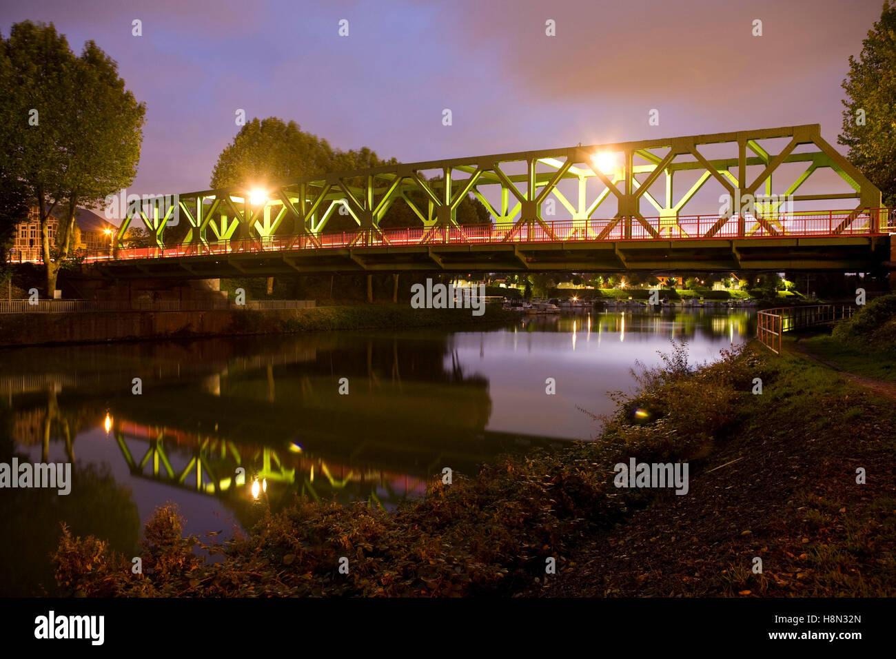 Germany,  Ruhr area, Waltrop, bridge across the Dortmund-Ems-Canal. - Stock Image