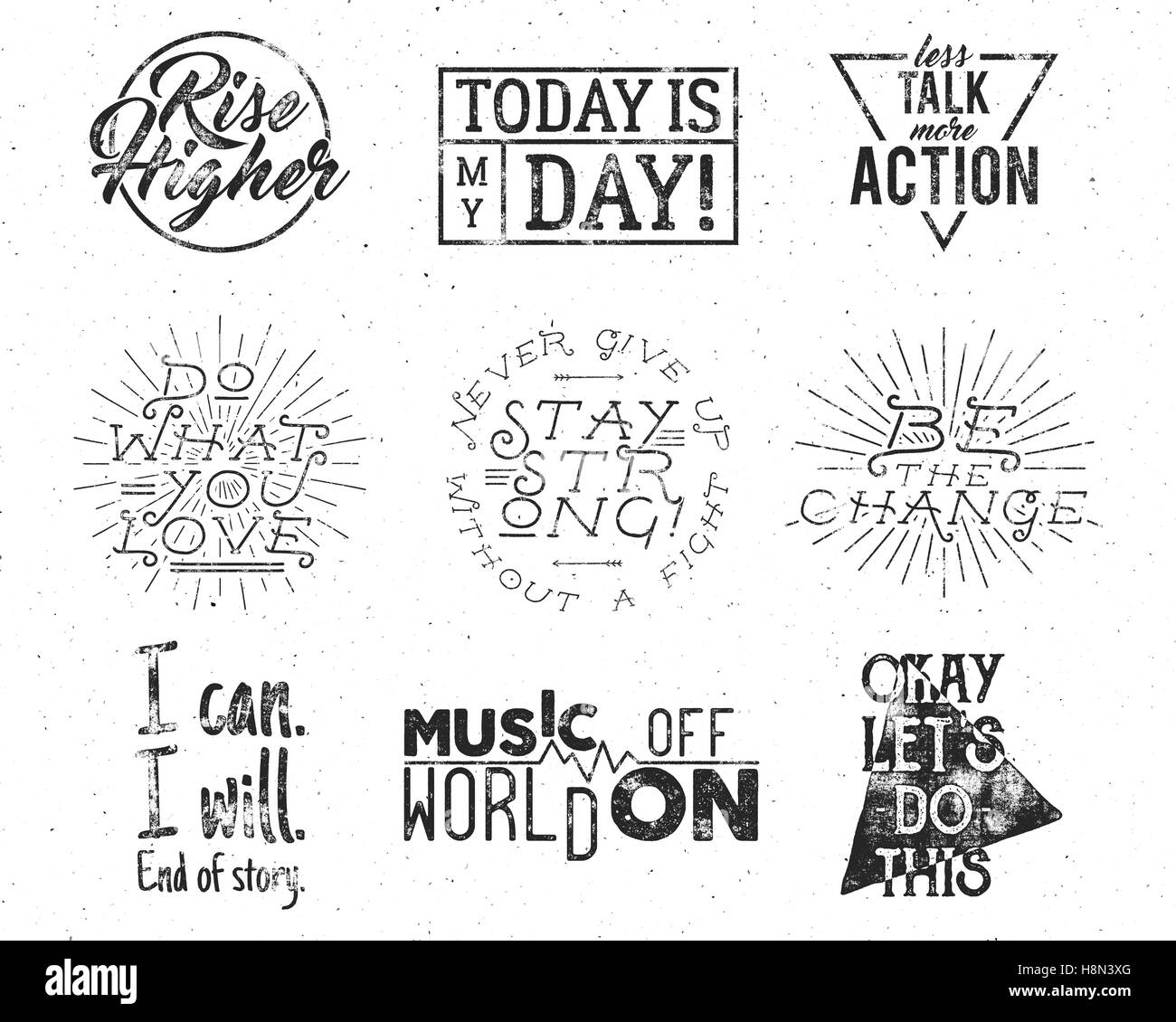 Inspirational Typography Life Style Quotes Set Motivation Retro Style Stock Vector Art