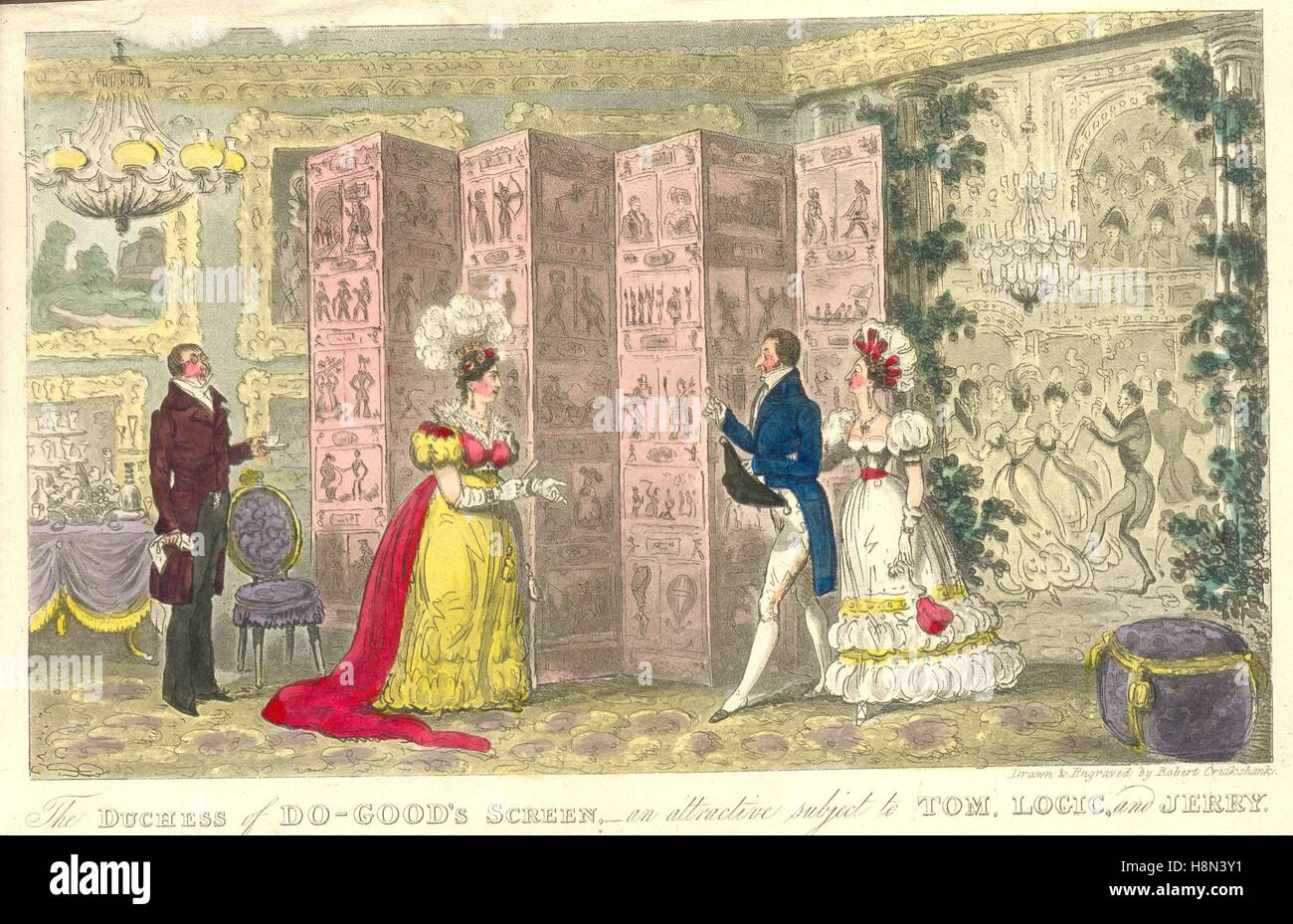 Hand coloured engraving  titled The Duchess of Do-Good's Screen, an attractive subject to Tom, Logic and Jerry. - Stock Image