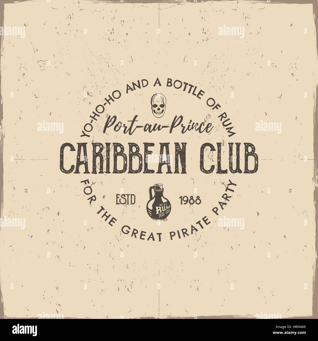 Vintage handcrafted label emblem caribbean club logo template vintage handcrafted label emblem caribbean club logo template sketching filled style pirate and sea symbols old rum bottle pirate skull retro stamp maxwellsz
