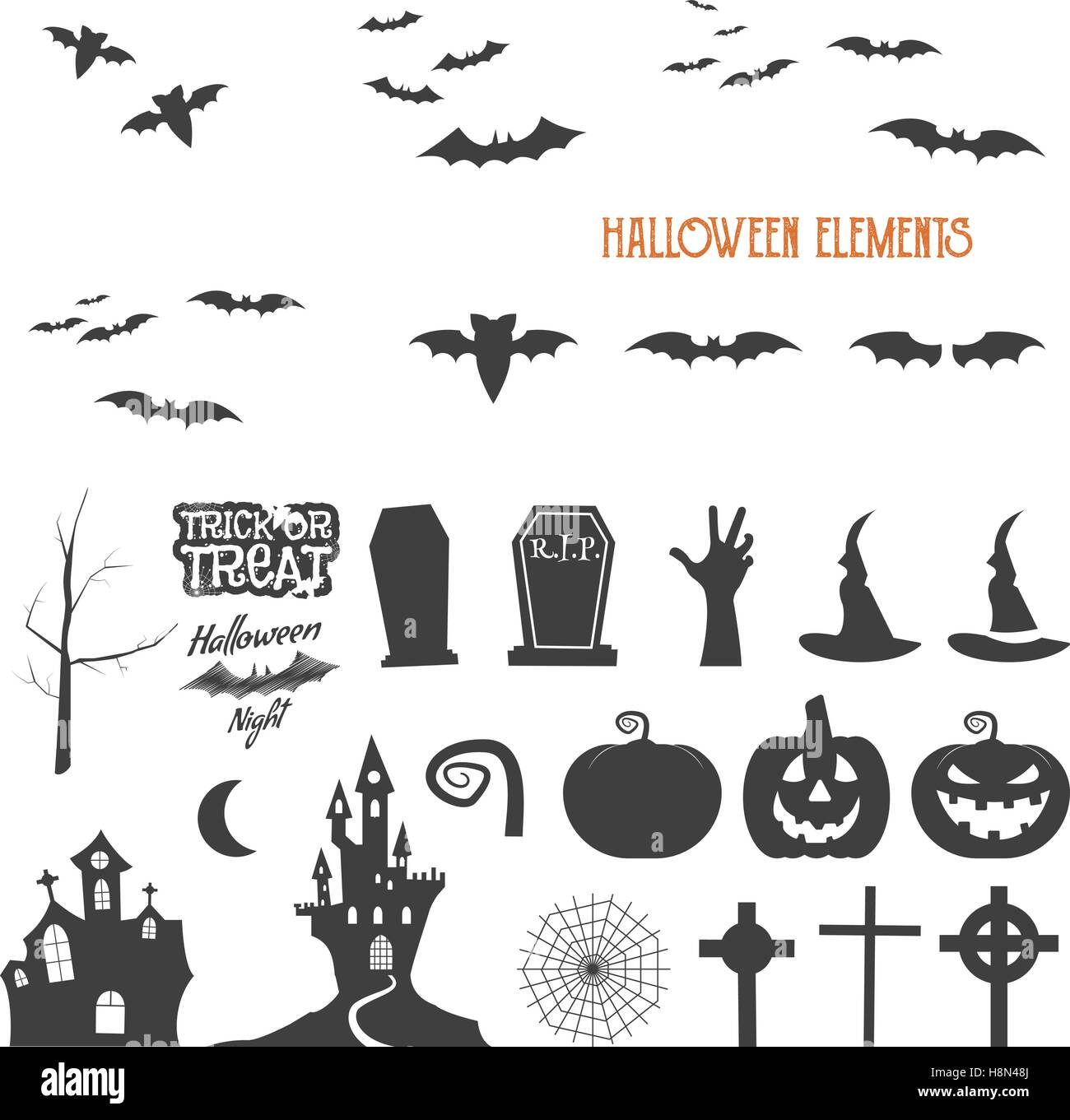 Set Of Halloween Design Creation Tool Kit Icons Isolate Flat Stock
