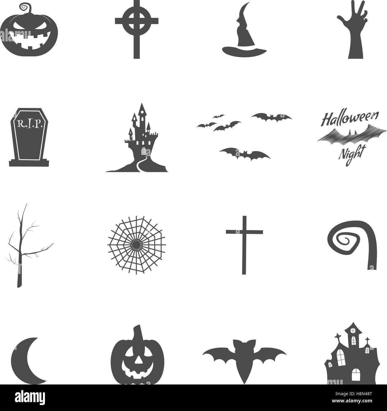 Set Of Halloween Design Creation Tool Kit Icons Isolate Silhouette