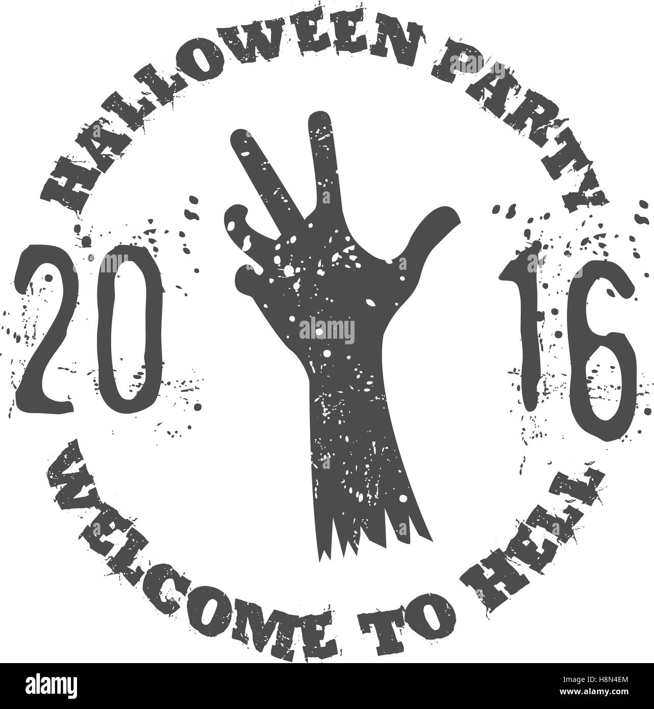 Halloween party label template with zombie hand and typography Stock ...