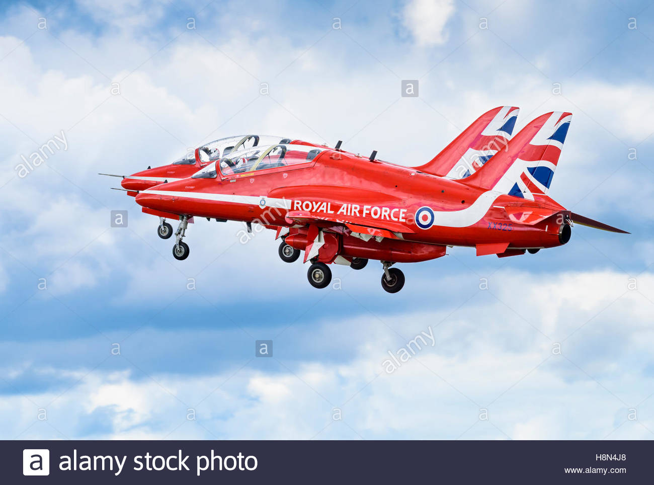 Two Of The Red Arrows Bae Systems Hawk T1 Aircraft Taking Off In