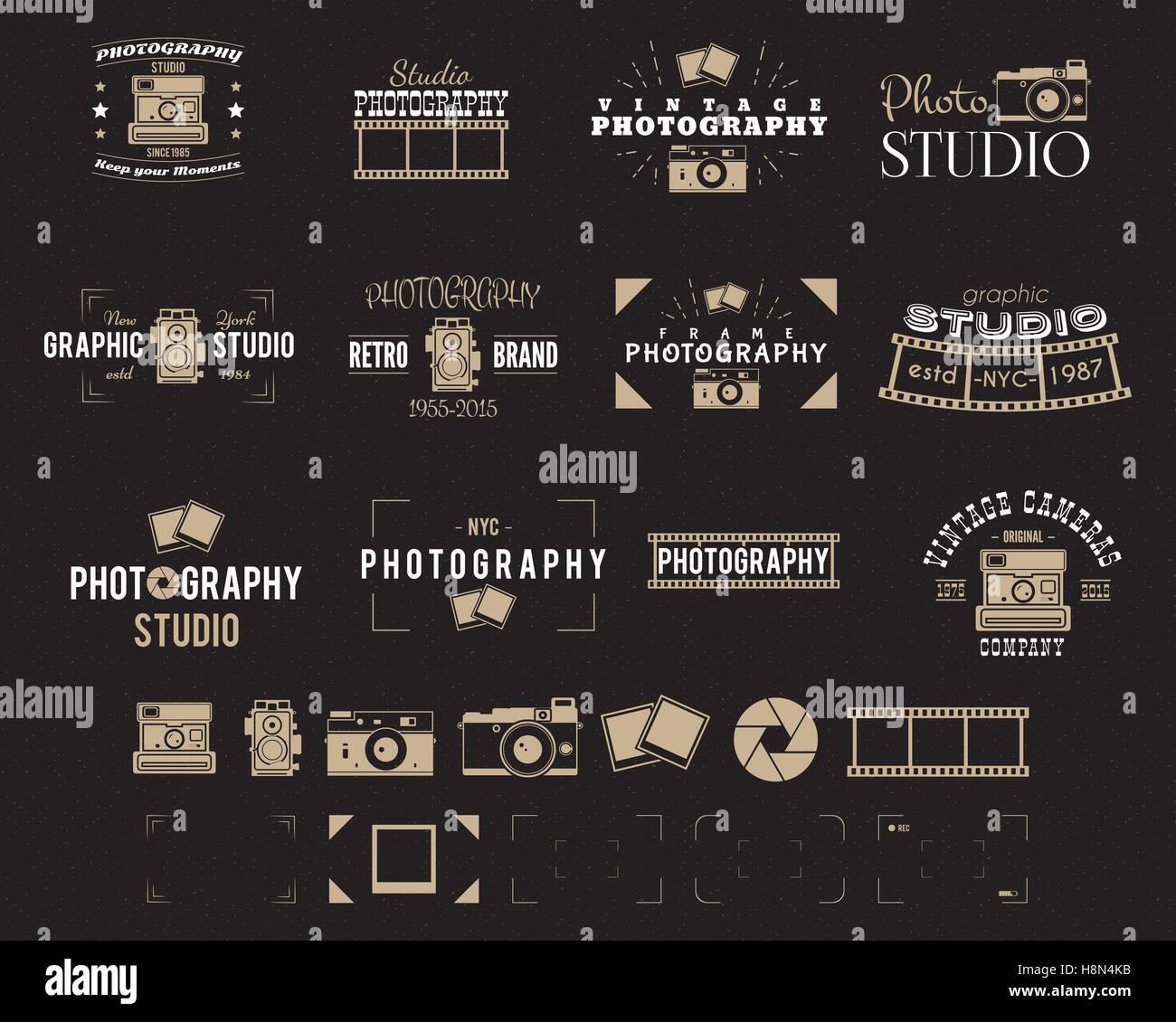 camera logo vintage photography badges labels dslr hipster