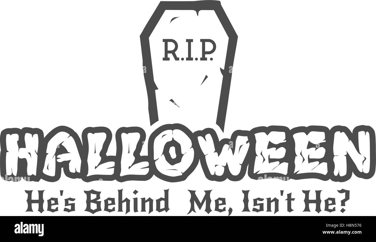 Halloween RIP label template with tombstone and typography elements ...