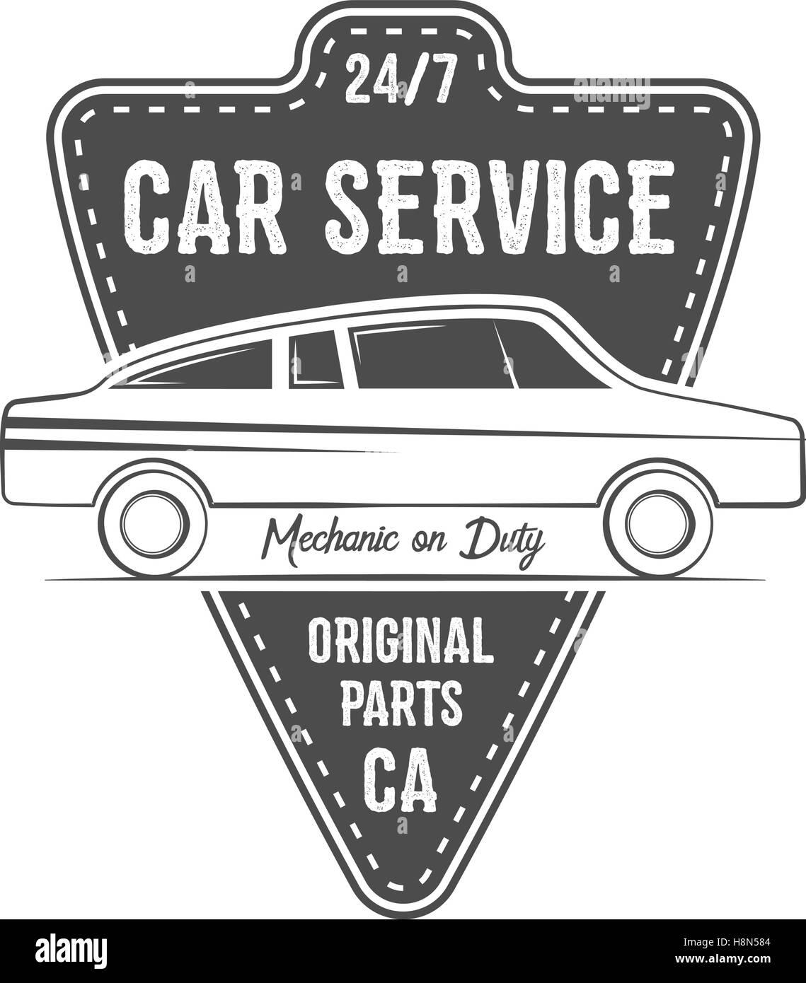 Vintage car service label design. Automotive emblem in monochrome ...