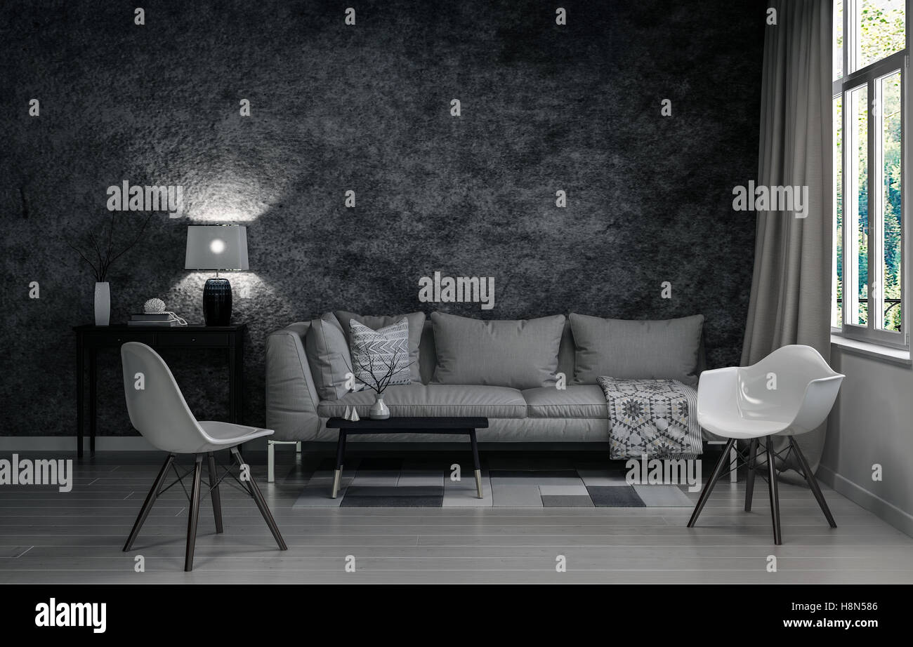 3D Rendering Of Living Room In Neutral Gray Colors. Includes Sofa And Stand  Alone Plastic Chairs Surrounding Small Table