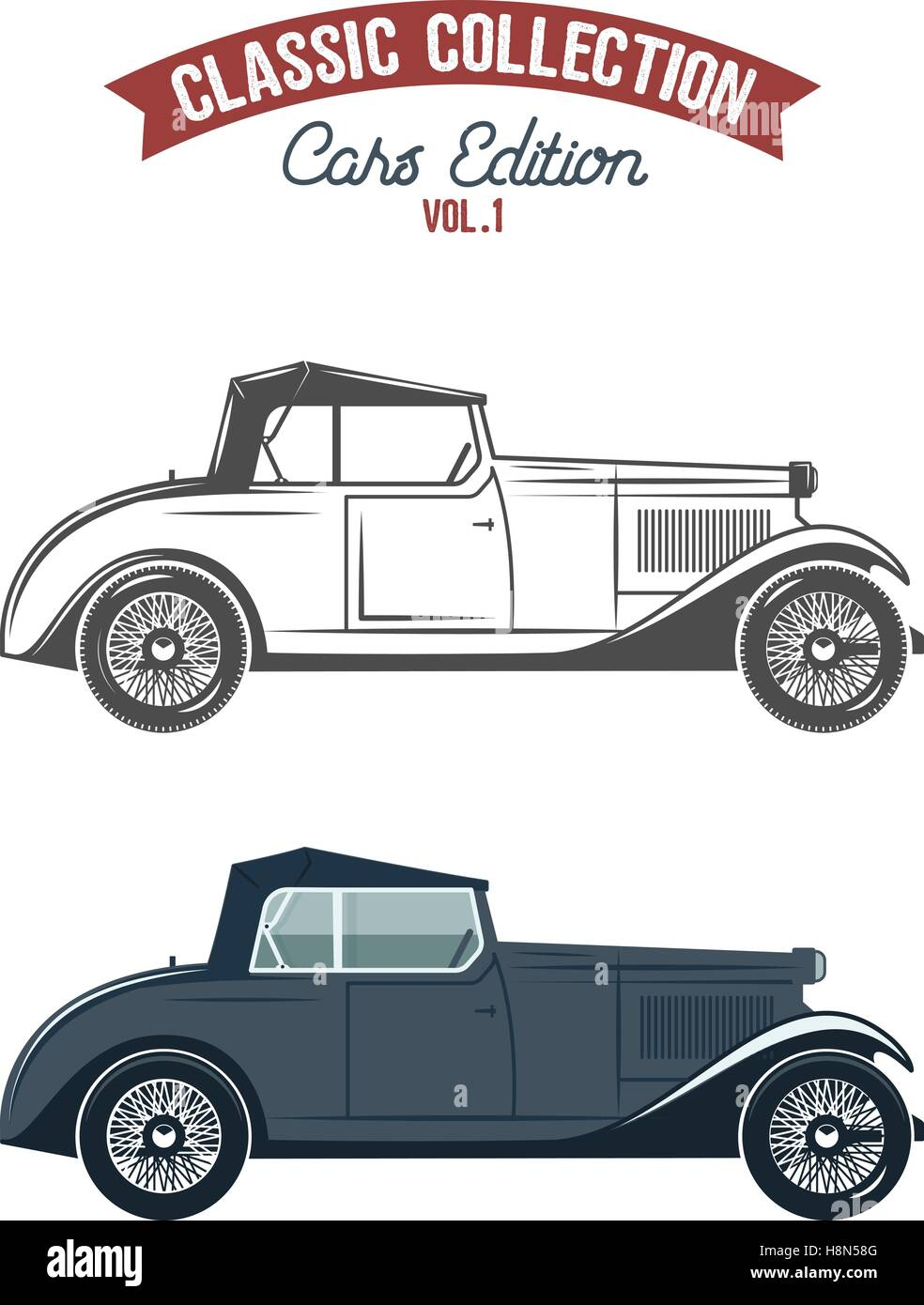 Retro gangster car (1930-40th). Car icons in flat color and monochrome style. Classic transportation vector design. - Stock Vector