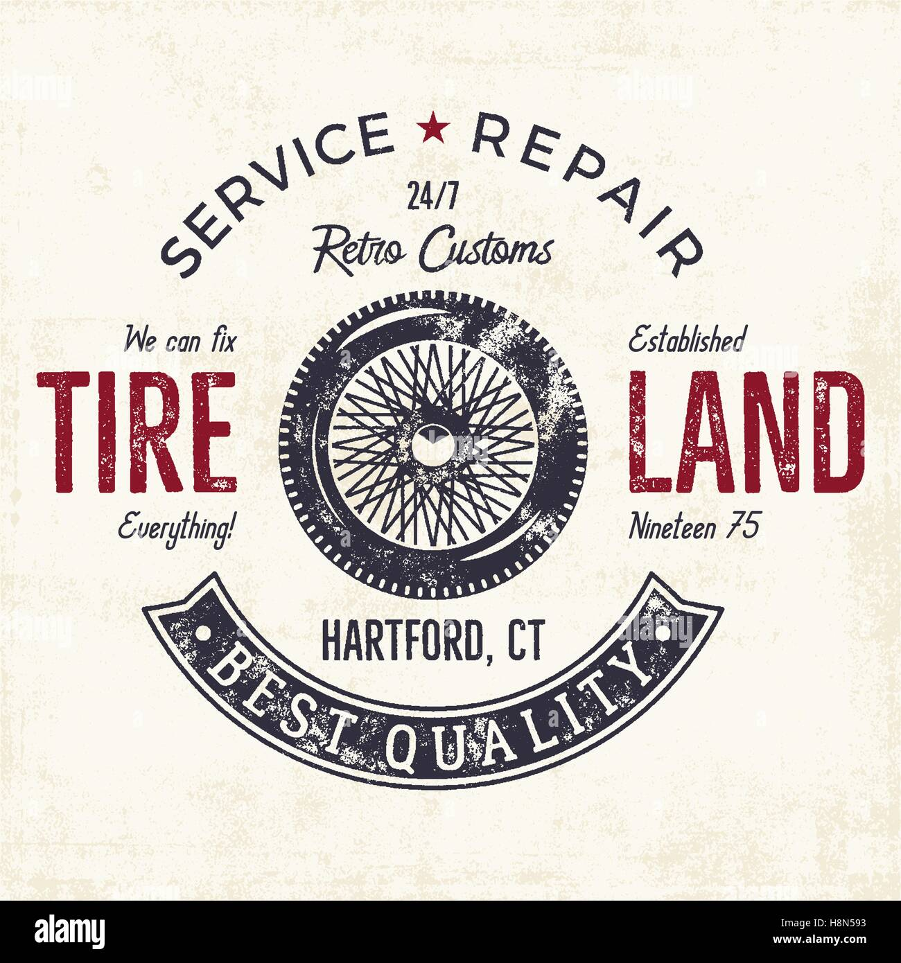 Vintage label design. Tire service emblem in monochrome retro style with vector old wheel and typography elements. - Stock Vector