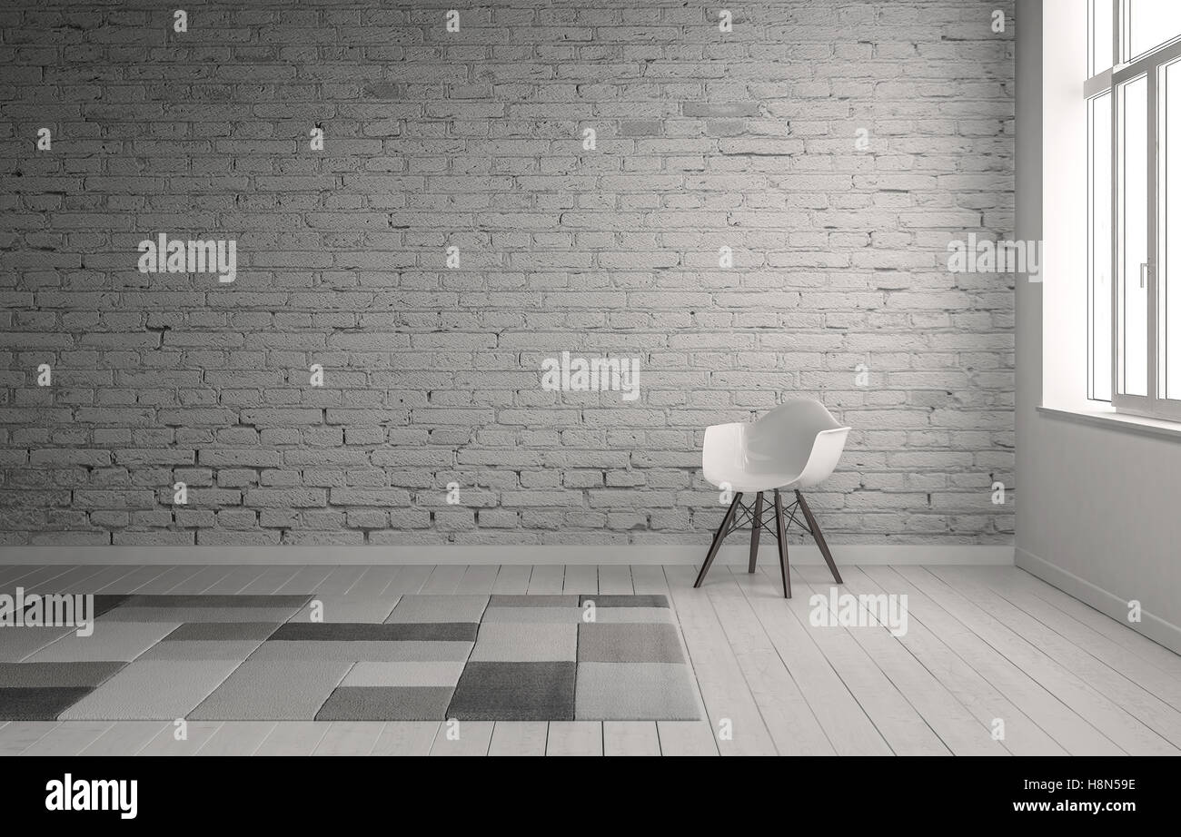 Scene of chair in front of painted brick wall with neutral gray carpet squares on floor. Includes copy space. 3d Stock Photo