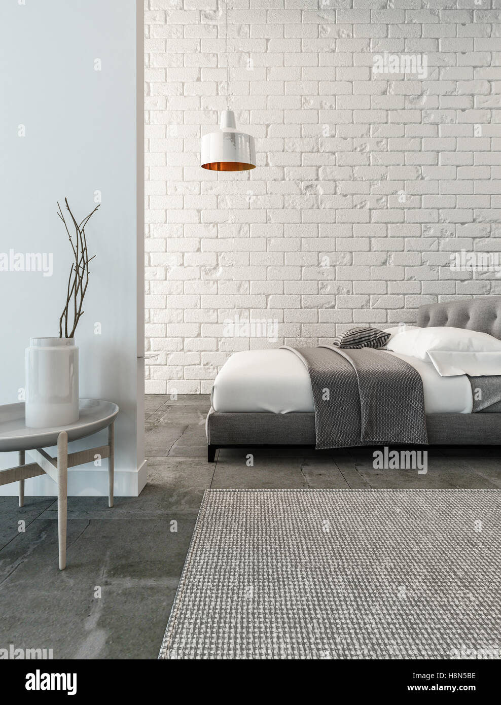 3d Rendering Of Bedroom With White Brick Wall Hanging Lamp And Table Stock Photo Alamy