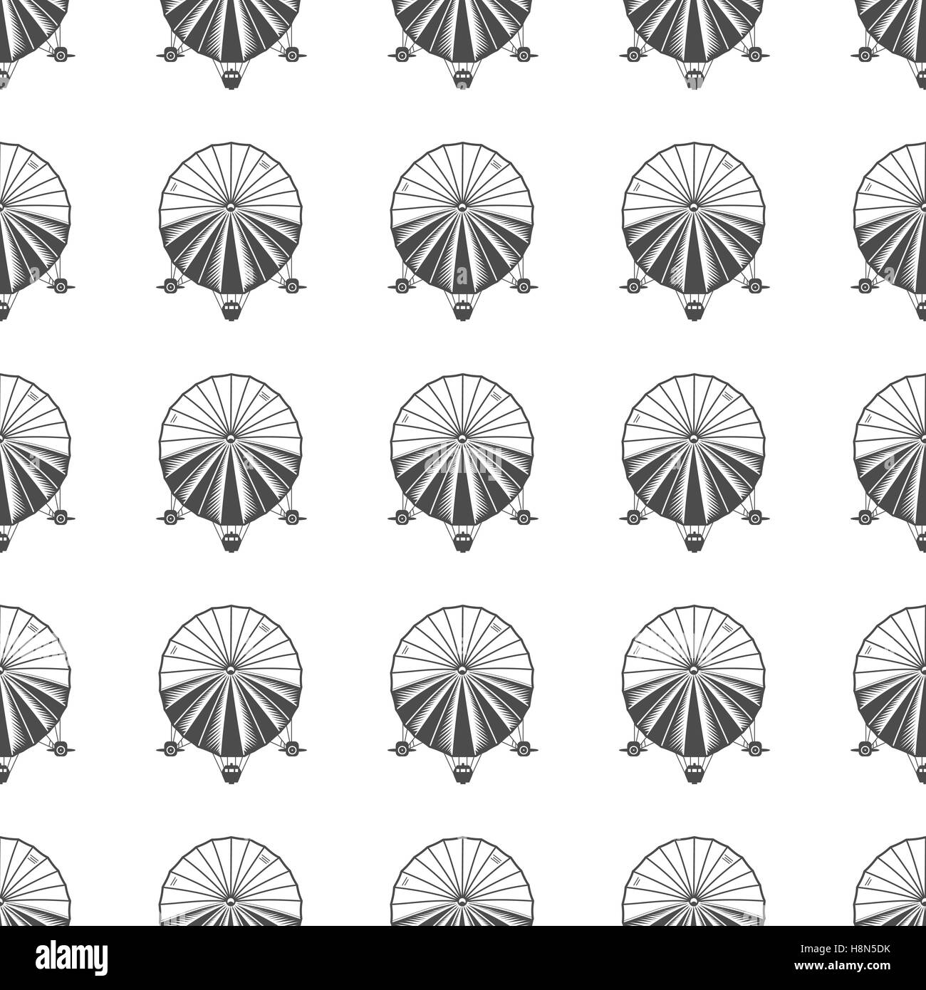 Vintage airship seamless pattern. Retro Dirigible wallpaper design. Old sketching style. Vector - Stock Image