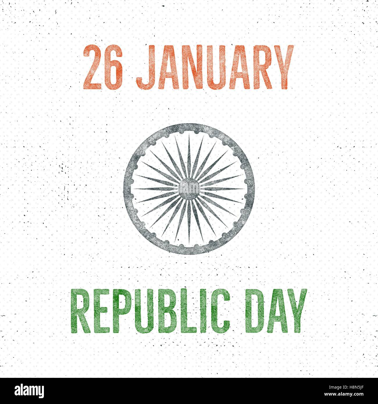 india republic day vintage label template retro typography concept vector illustration