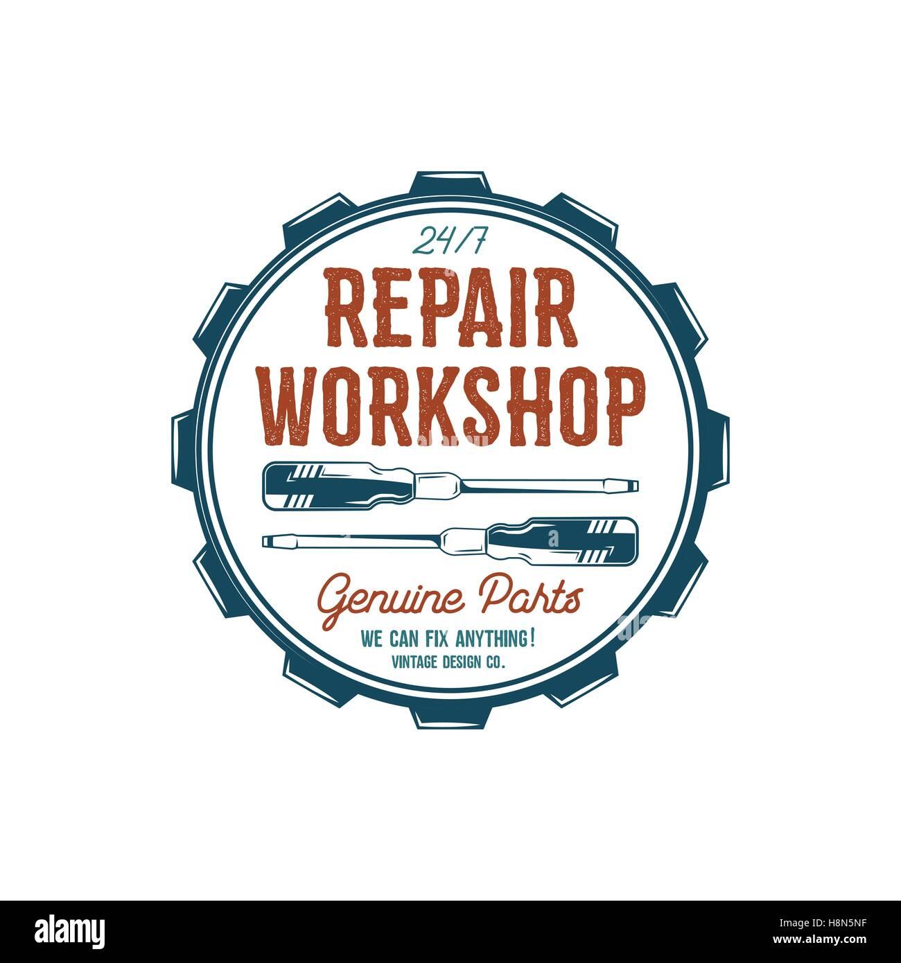 Vintage label design. Repair workshop emblem in retro colors style ...