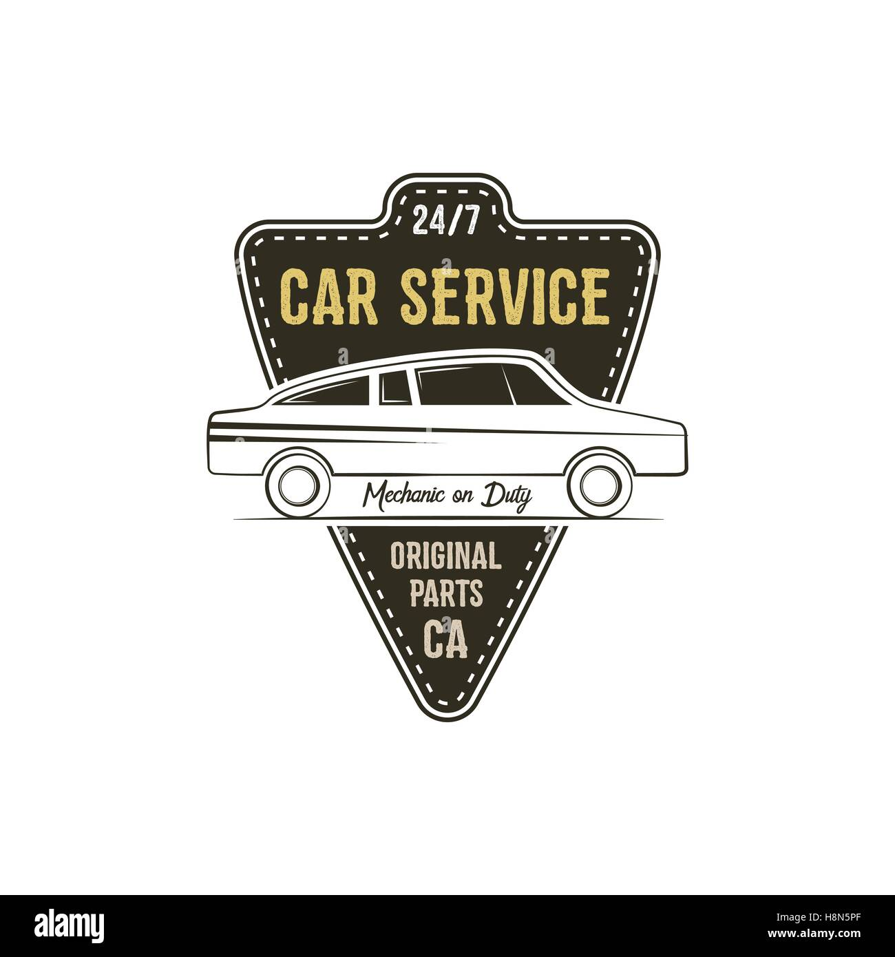9df99008 Car service label. Vintage tee design graphics, retro colors typography  print. Custom t-shirt stamp, teeshirt graphic. Use as emblem, logo on web.  Vector.