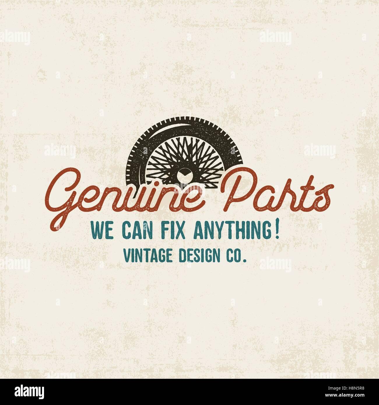 Vintage Car Service Label Design Genuine Parts Sign Retro Colors