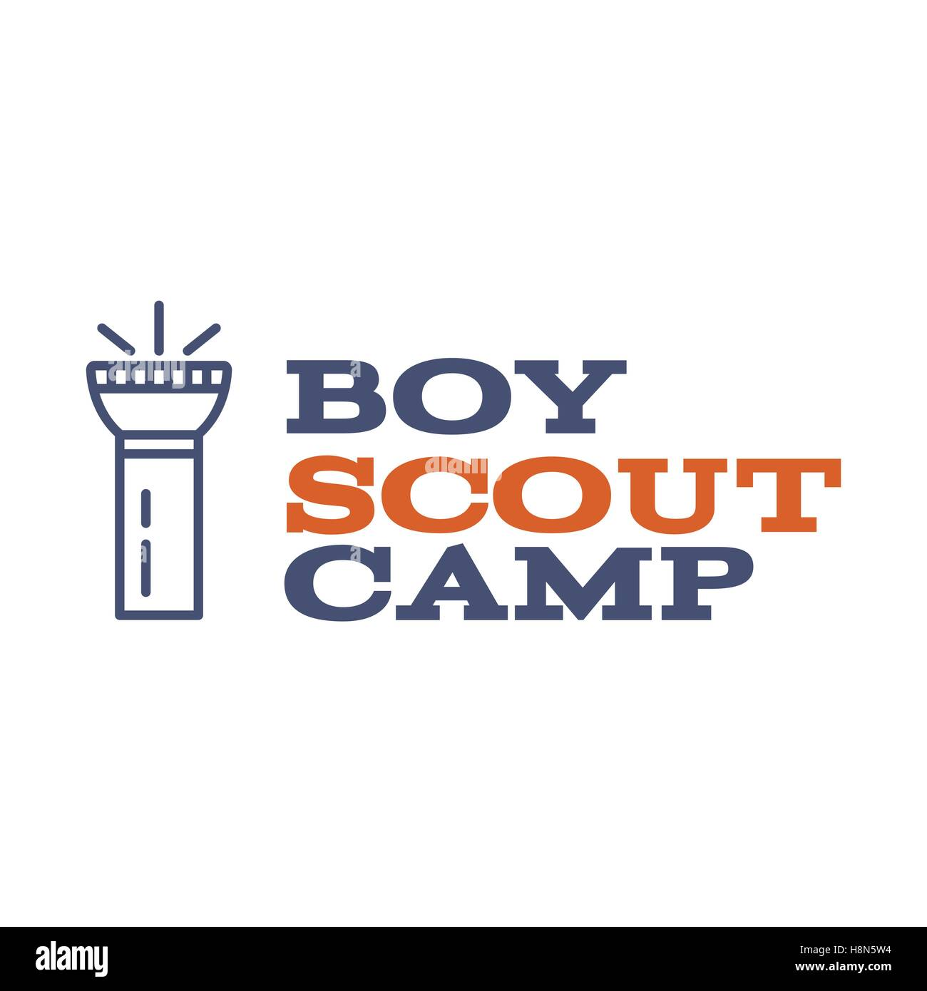 Boy scout camp logo design with typography and travel element - flashlight. Vector text. Hiking trail, backpacking - Stock Image