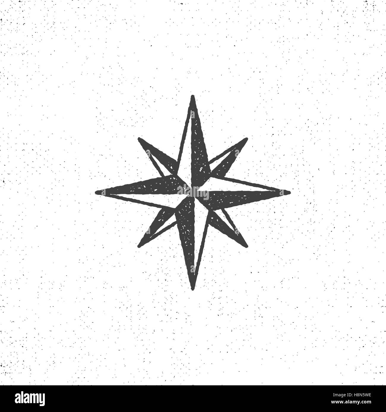 Vintage wind rose symbol or icon in rough silhouette nautical style, monochrome design. Can be used for T-shirts - Stock Image