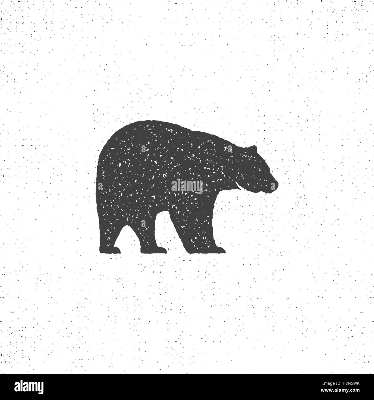 Vintage bear mascot, symbol or icon in rough silhouette style, monochrome design. Can be used for T-shirts print, - Stock Image