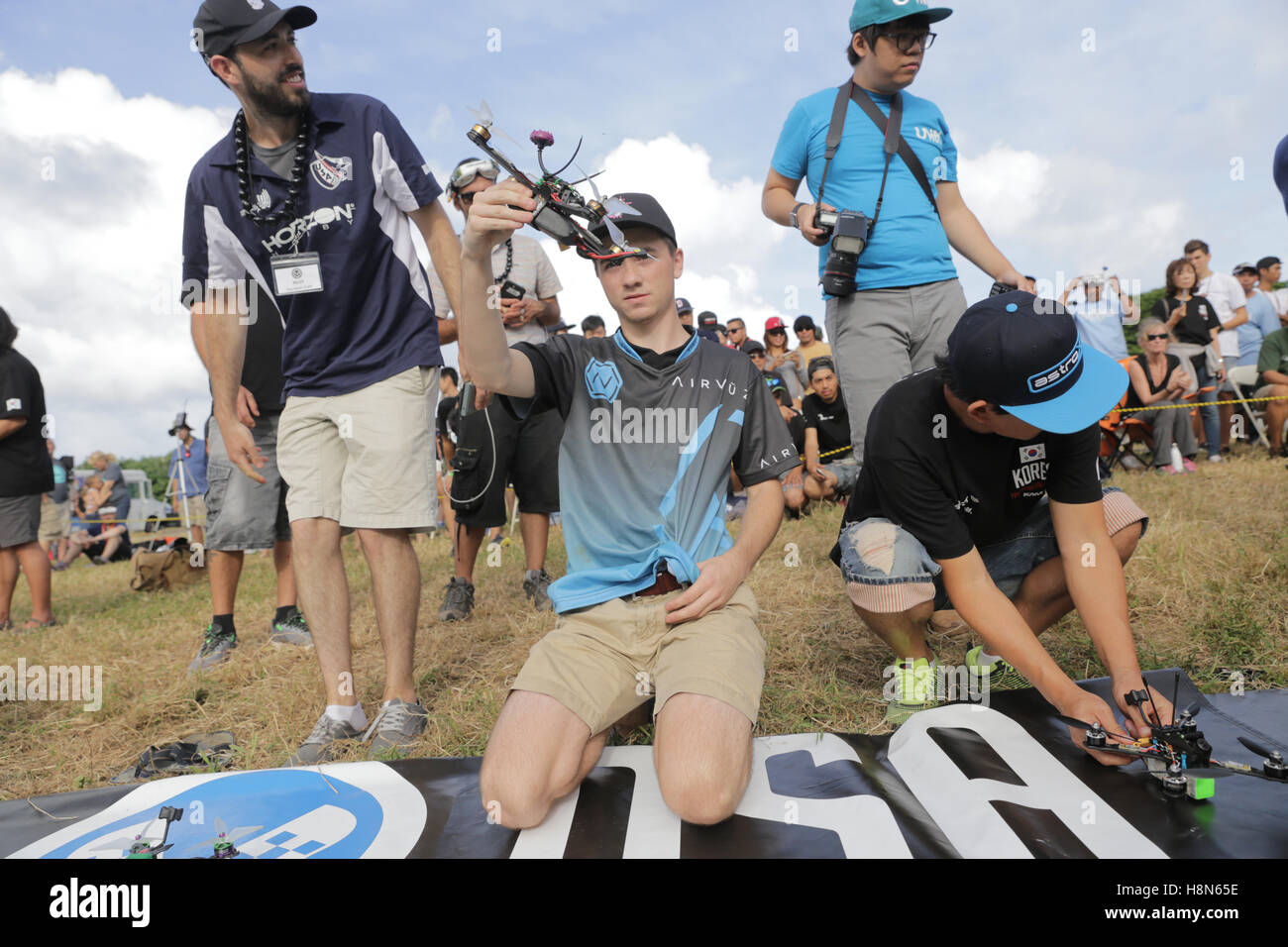 Drone Worlds 2016.  Drone racing competition, 2016.  Held on Koaloa ranch, O'hau island, Hawaii.  Pictured: - Stock Image