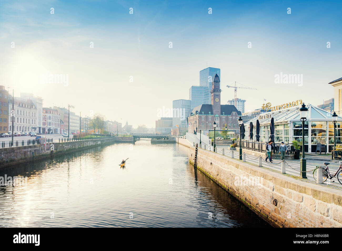 Malmo Live concert hall and Central Station by river, Sweden, Skane - Stock Image