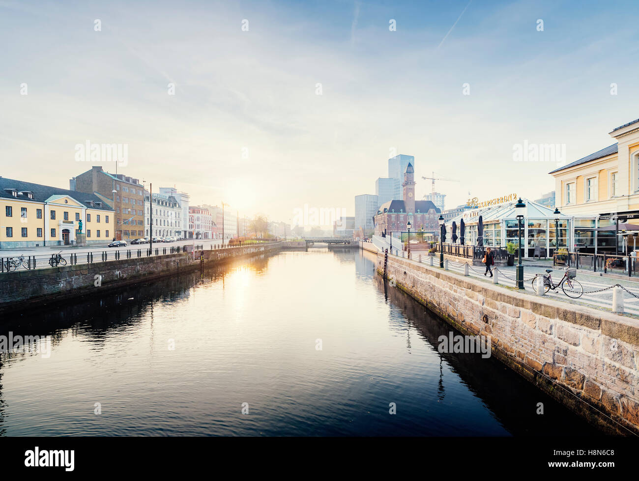 Malmo Live concert hall and Central Station by river, Sweden - Stock Image