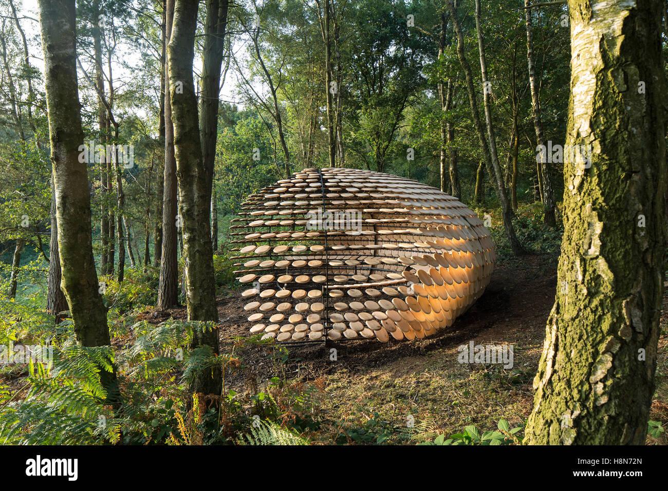 View of side of pavilion. Perspectives. Pavilion, Surrey Hills, United Kingdom. Architect: Giles Miller Studio , - Stock Image