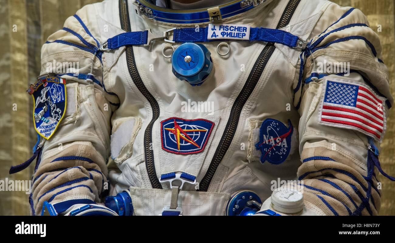 NASA International Space Station Expedition 50 backup crew member American astronaut Jack Fischer puts on his Sokol - Stock Image