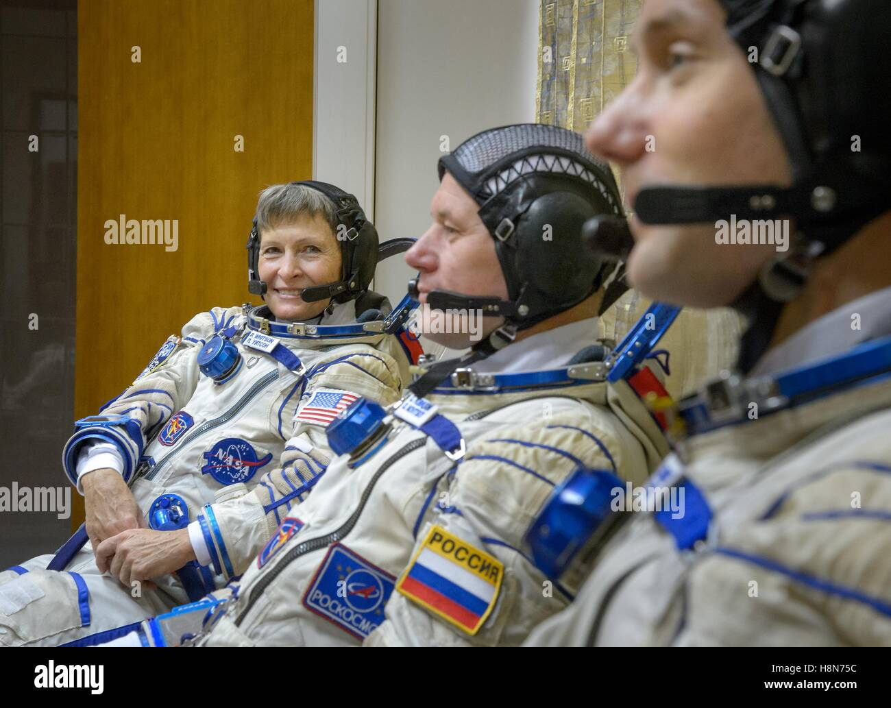NASA International Space Station Expedition 50 Soyuz MS-03 prime crew astronauts (L-R), American astronaut Peggy - Stock Image