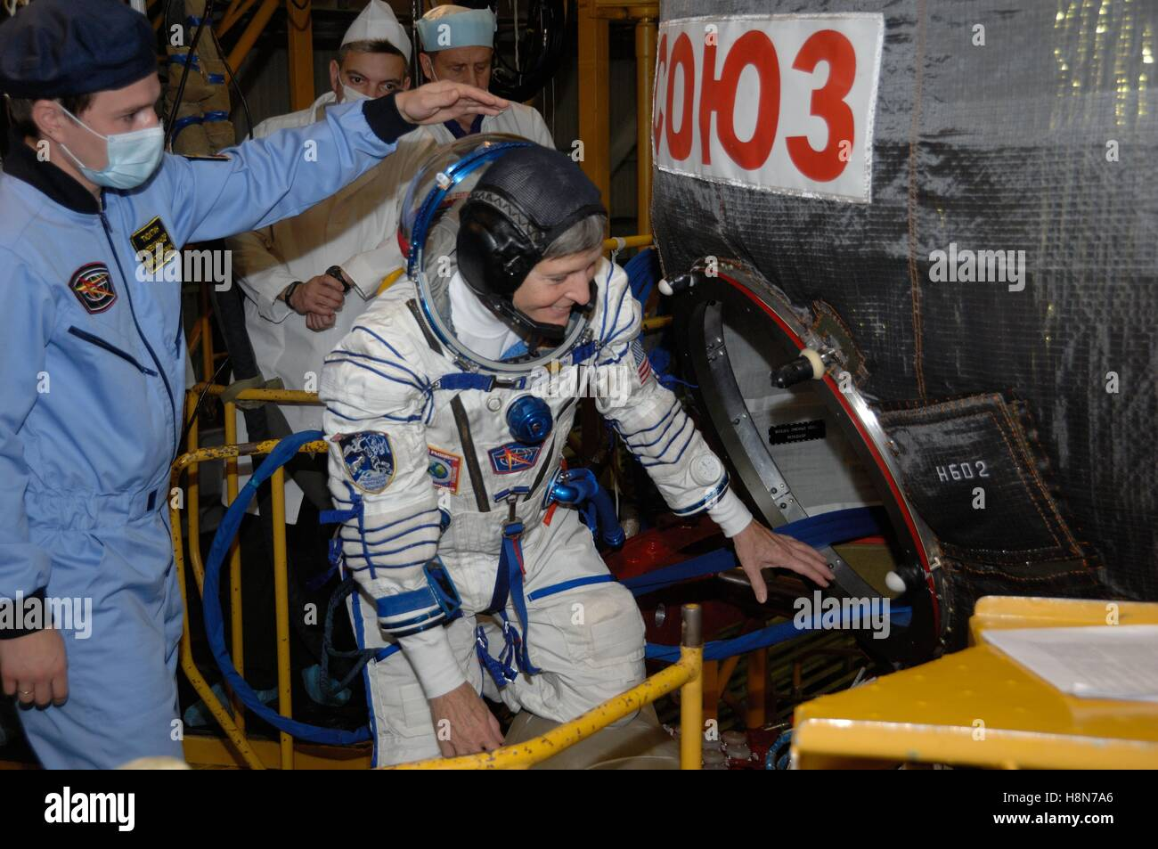 NASA International Space Station Expedition 50-51 prime crew member astronaut Peggy Whitson boards the Soyuz MS - Stock Image