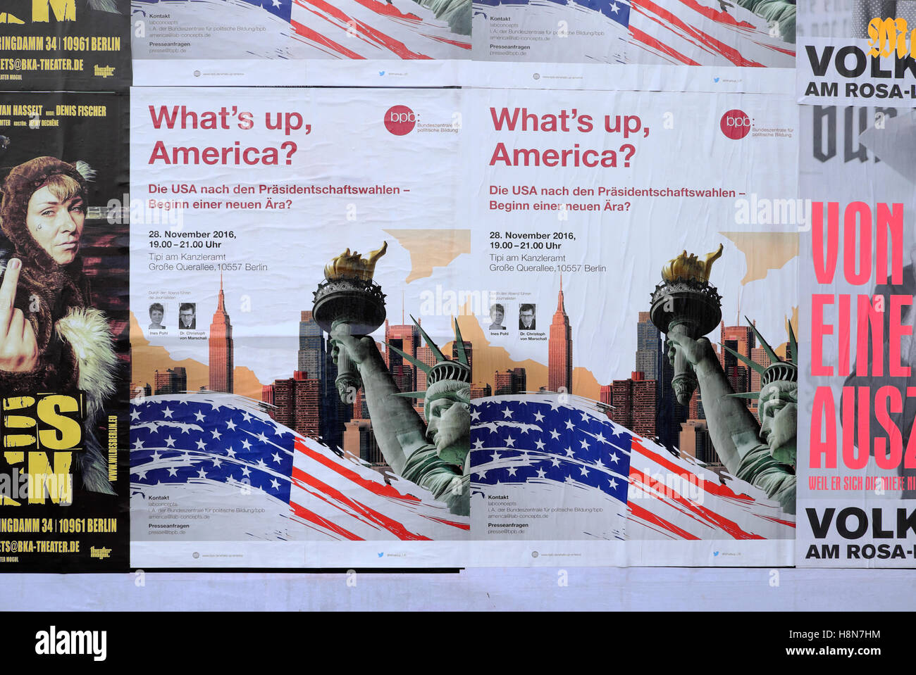 'What's up, America?'  bpb poster on billboard during US American election in Berlin  Germany  2016 - Stock Image
